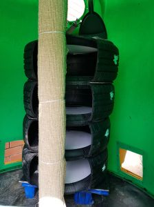 Inside. Tires adapted as vertical beds