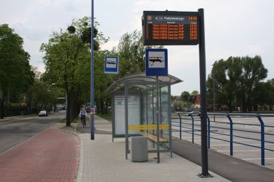 The City Hall/ Passenger Information System and new bus shelter
